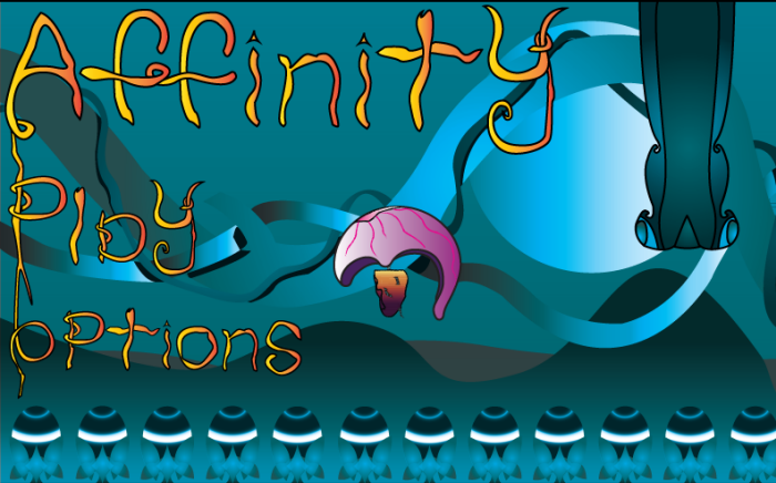 The title screen for Affinity.  When the Player presses the start button, the screen starts scrolling and the game begins immediately.