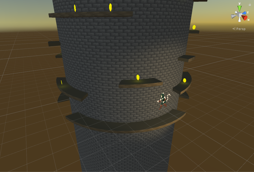 Unity view of Tower Power.  Everything in the world is 3D except for the Character and Coins.  The camera was placed into an Orthographic view, which helped create the aesthetic of the game we were looking for.