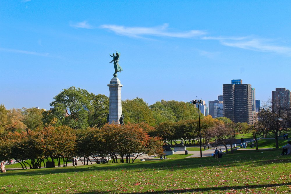 Mont Royal in Montreal. This is a beautiful part of the city, with large, lush parks and bright open spaces.