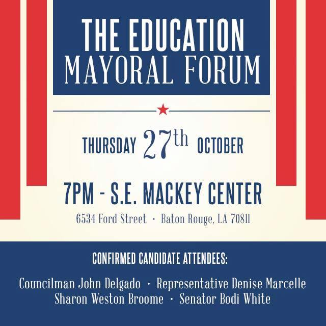 October 2016 The Education Mayoral Forum - In October 2016, SLCE hosted the 4 candidates for East Baton Rouge Mayor-President at a forum to discuss their vision for the city and its impact on local educational issues.
