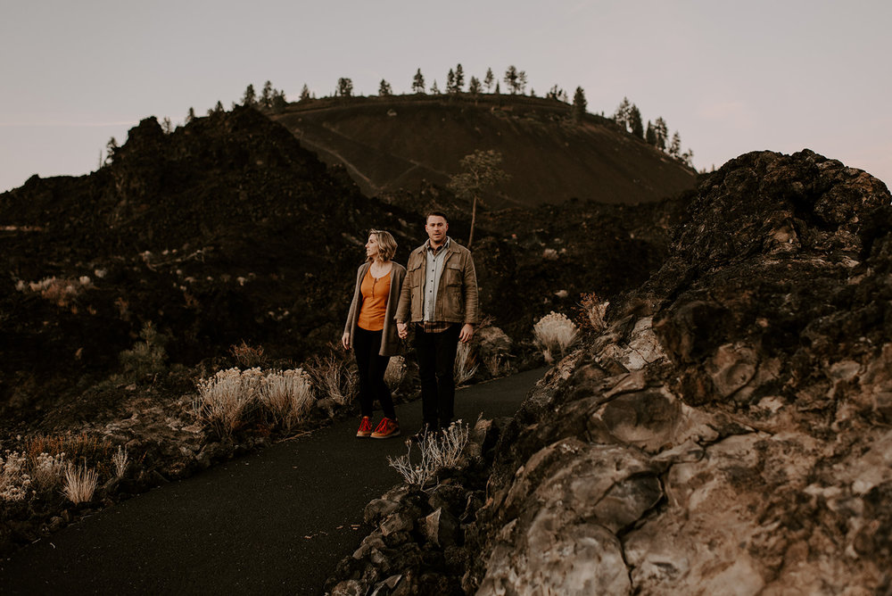 Tiffany and Tom's Adventurous Lava Field Couples Session in Bend | Oregon Wedding Photographer | Madeline Rose Photography Co.
