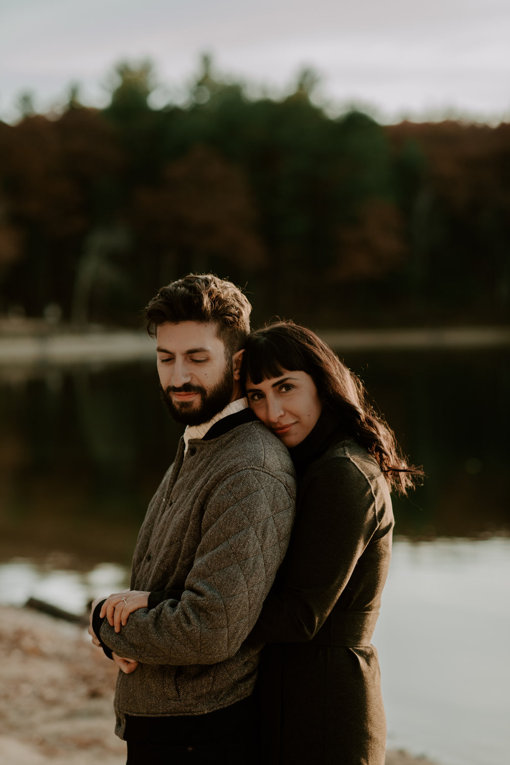 Kiki and Michael's Autumn Walden Pond Engagement Session | Boston Wedding Photographer