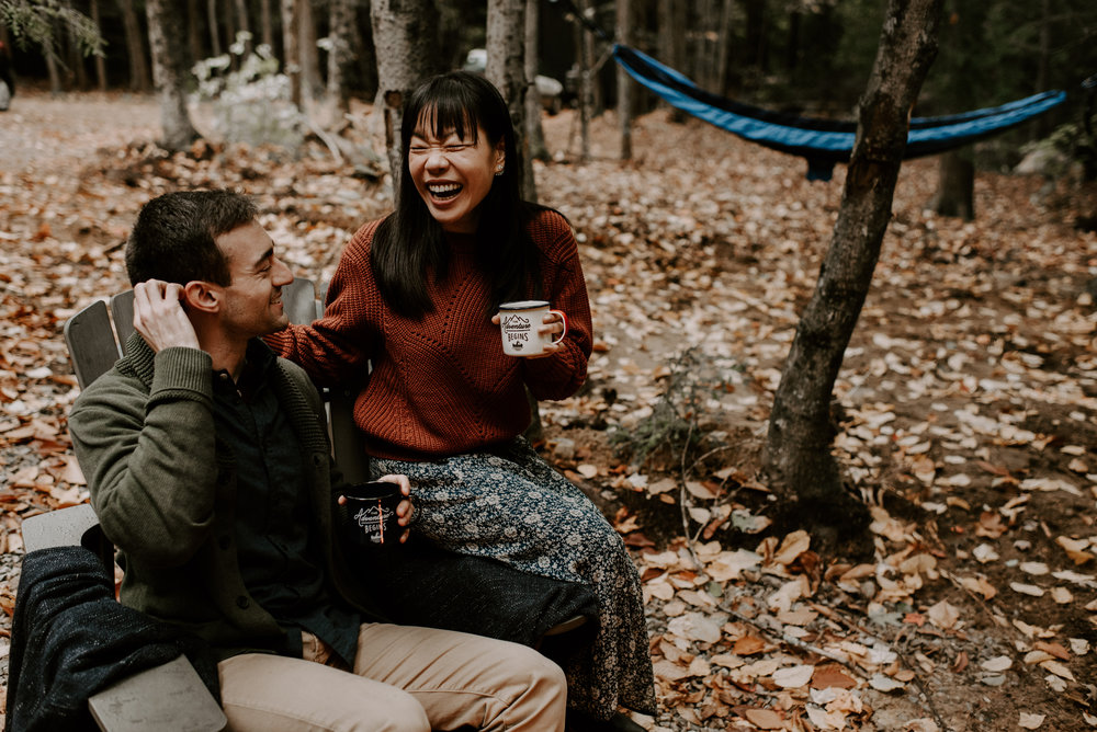 Lisa And Ryan's Camping Engagement Session At The Getaway Houses | New Hampshire Wedding Photographer | Madeline Rose Photography Co.