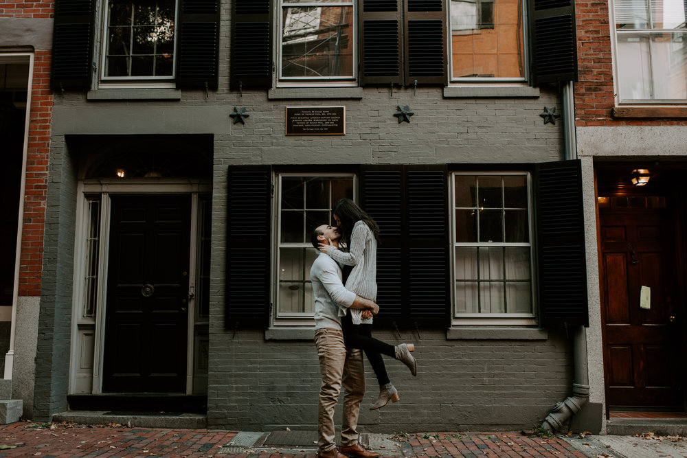 Dramatic and Moody Beacon Hill Boston Engagement Session | Boston Wedding Photographer | Madeline Rose Photography Co.