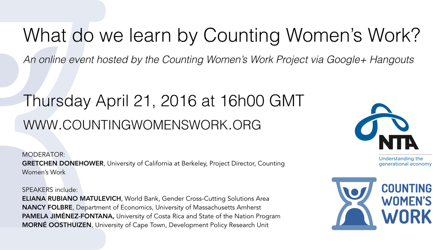 Google Hangout: What do we learn by Counting Women's Work
