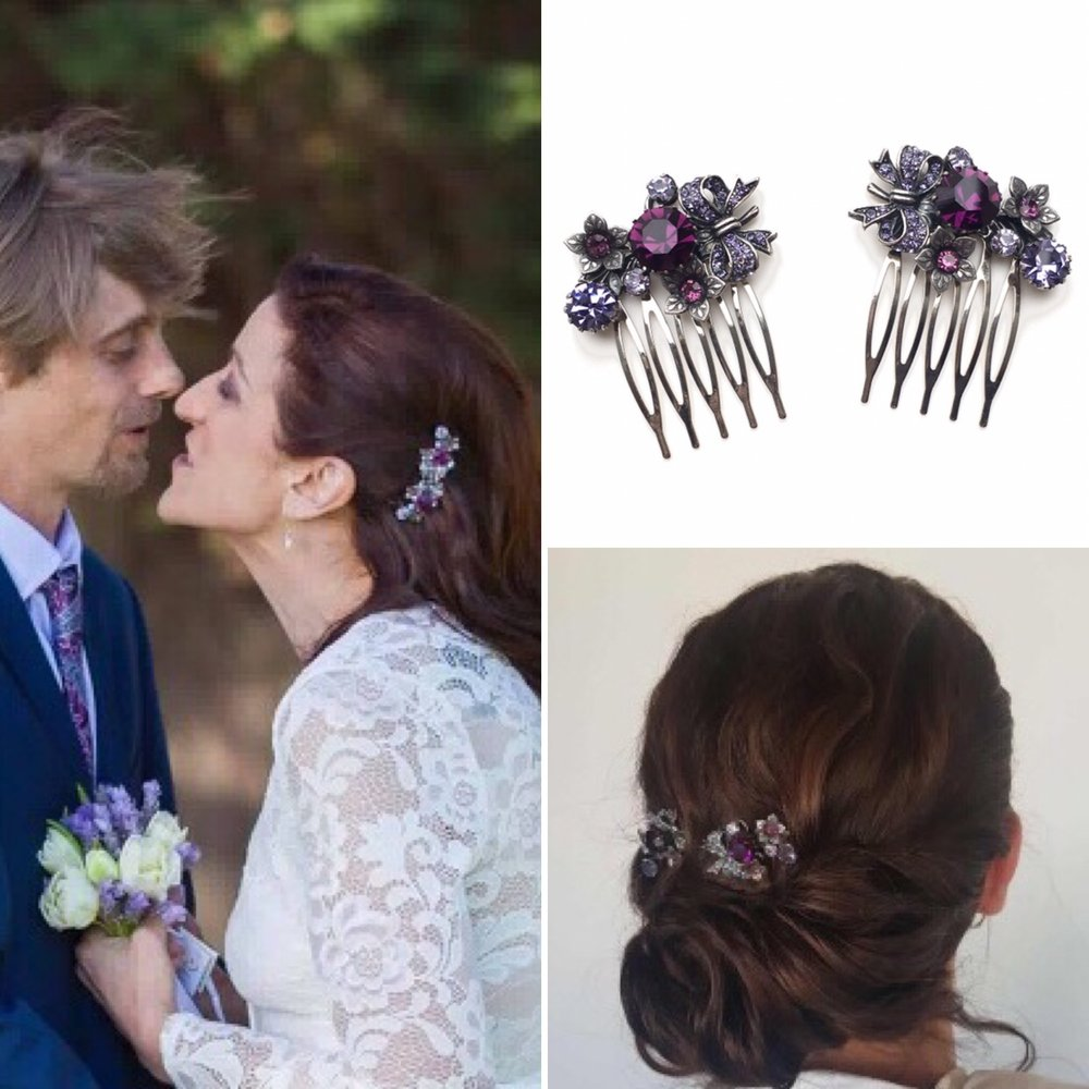 Vintage Purple Hair Combs for Michelle's Wedding