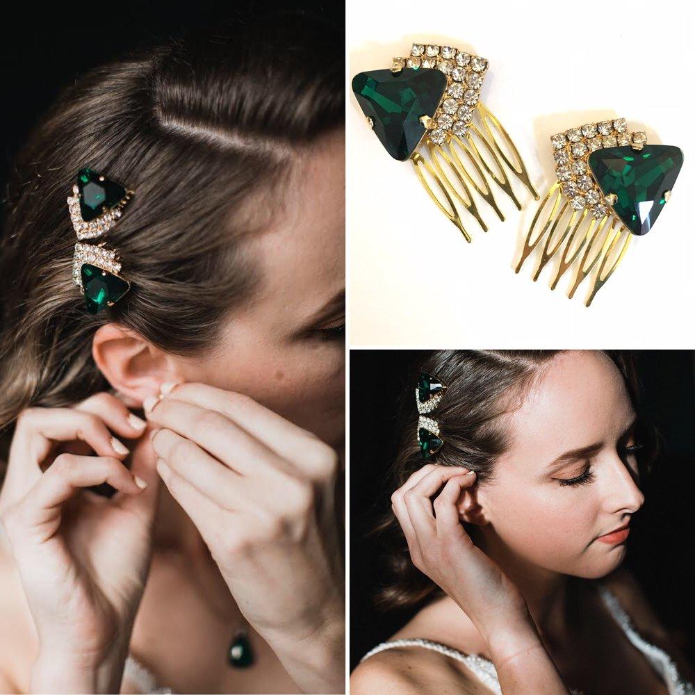 Art Deco Diamante Hair Combs For Jessica's Wedding  - photo credit  Sullivan & Sullivan Studios