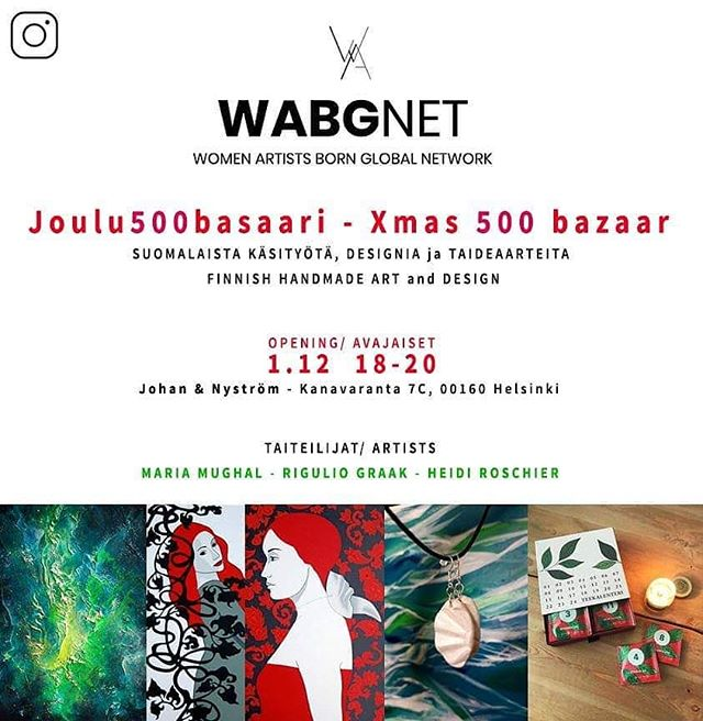 "WABGNET @wabgnet exhibiting ""Xmas 500"" with 3 Art Society Soho Helsinki members at the Cafe Nyström @johanochnystrom at Katajanokka:  Artists: Maria Mughal @mariamughal_art Heidi Roschier @artist_voyage Rigulio Graak @rigulio_graak_art  Come make Xmas findings. Stunning Finnish hand made gifts and paintings on show, gifts from 10-500€ with Xmas ornaments (17 & 25€), Xmas Angels (24€), Art Earrings (25€), Serigraphy (screen printing), Xmas art cards (10 & 20€), Dreamcatchers, ""Take away"" Paintings 10-500€"