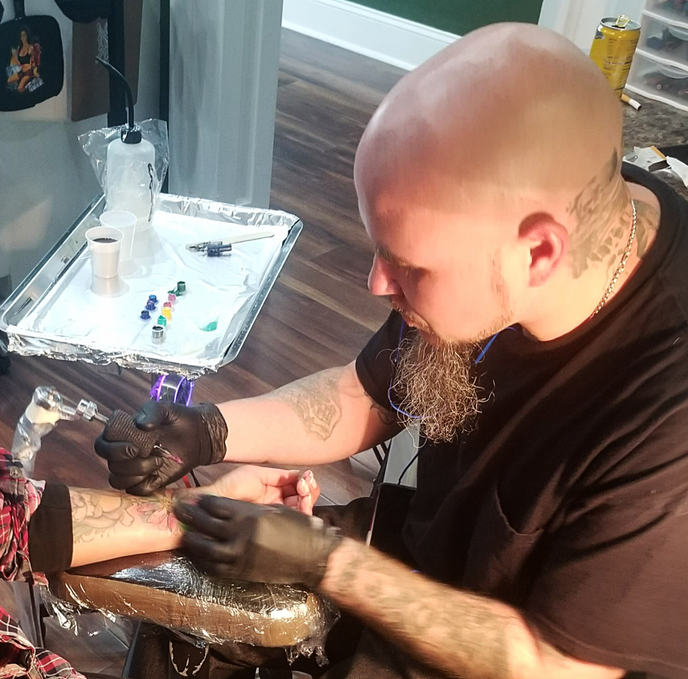 Fatt Matt - Matt has been tattooing since 2009. His favorite style is realism but overall does enjoy a lot of color work as well as watercolor and black and grey. Matt doesn't like to be tied down to one particular style, he loves it all and all aspect of it. Click his photo to check out his work!