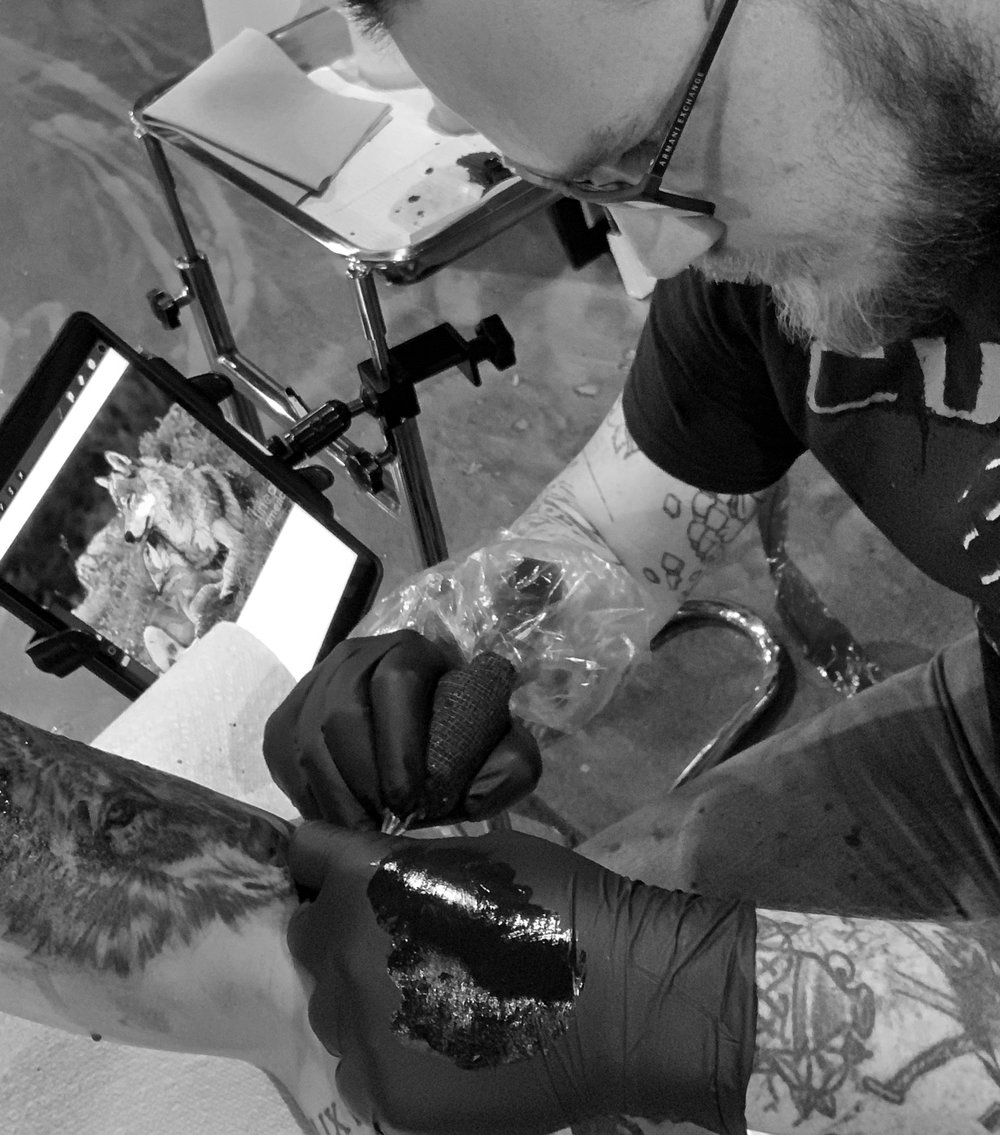 Charlie Browy - Charlie is from South Carolina, he's been tattooing for 5 years specializing in realism and neotraditional. He left his occupation as an electronic engineer to explore tattooing as a full time career and never looked back. Click his photo to check out his work!