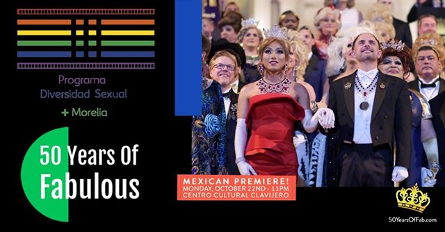 "** MEXICAN PREMIERE ** 50 Years of Fabulous: The Imperial Council Story will screen in Morelia, Mexico on Monday, October 22nd at 11:00pm as part of the ""III Edition Sexual Diversity Program + Morelia Programa."" 🌈🎥 #LGBTQ #LGBT  Directed by the award-winning filmmaker Jethro Patalinghug, 50 YEARS OF FABULOUS recounts the rich history of the Imperial Council, the oldest LGBT charity organization in the world. Founded in San Francisco by renowned activist, drag queen and performer José Sarria, the Council has helped shaped LGBT life and social history in San Francisco and beyond throughout the last five decades. ✨👑✨ #50YearsOfFab  Details: @moreliaprograma #juntossomosmasfuertes #LGBTQ #JoseSarria #lgbt #pride #equality #queer #lgbtpride #diversity #lgbtqia #lgbtally #morelia #mexico #filmfestival #filmfest #drag #dragqueen #imperialcouncil #imperialcourt #lgbthistory #lgbthm #mexicanpremiere"