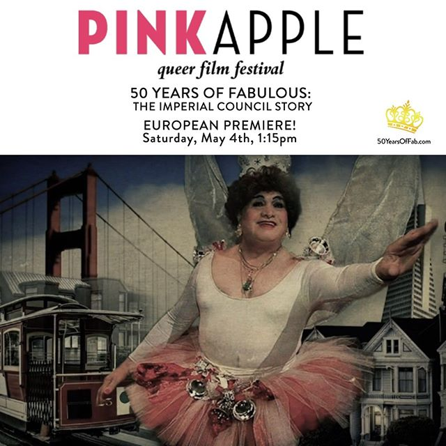 ** EUROPEAN PREMIERE! ** 50 Years of Fabulous: The Imperial Council Story will screen in competition at this year's Pink Apple Filmfestival in Zurich! 🌈🎥 #LGBTQ #LGBTQHistory #Zurich @pinkapplefilmfestival  Venue: Arthouse Piccadilly 2 Date: Saturday, May 4th, 1:15pm  Tickets goes on sale Tuesday, April 23rd at 12:30pm local time. ✨👑✨ #PinkApple #LGBTQ #50YearsOfFab #JoseSarria #lgbt #pride #equality #queer #lgbtpride #diversity #filmfestival #drag #dragqueen #imperialcouncil #imperialcourt #gay #makeup #instagay #dragrace #queen #instadrag #love #dragqueens