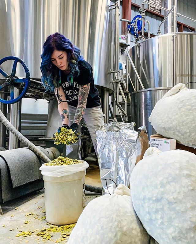Beer goddess @isbeeracarb Megan from @moderntimesbeer playing with some #citrahops for some future beer we're positive we'll be pouring soon... #moderntimesbeer #northpark 🍻#waypointpublic #beer #sandiegobeer  #eatwelltraveloften