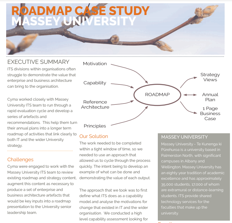 Road Map Case Study for Massey University
