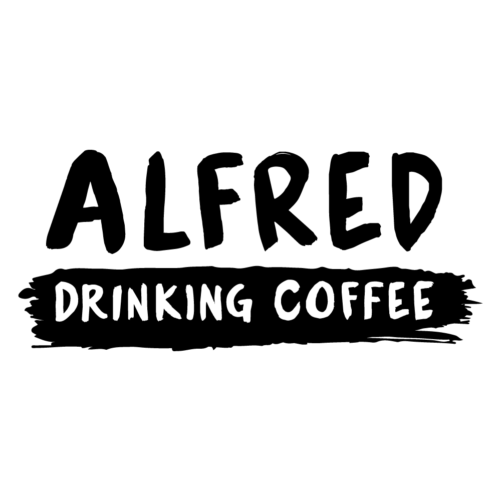 alfred-drinking-coffee-wordmark-stacked-black.png