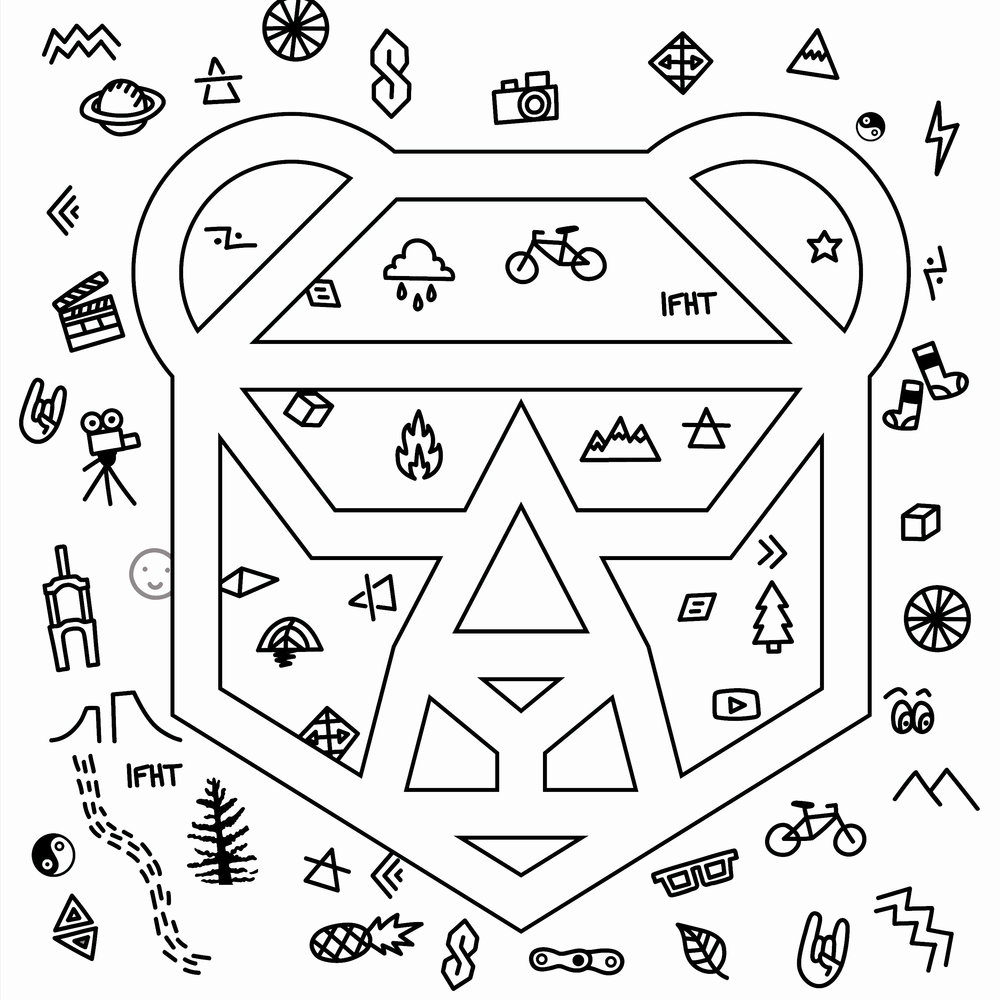 Next, I vectorized the most successful doodles and arranged them in a square with the logo overtop.      I printed this image out, then filled in the white space with my own doodles and patterns.