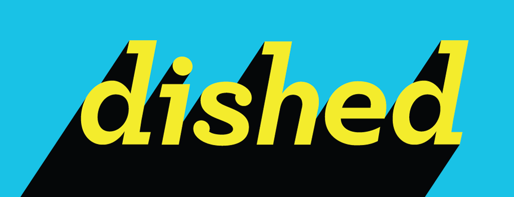 An early concept but a lucky winner. Above is the final logo and brand identity of Dished. The bold drop shadow evokes both pop-art and the edginess of Put it in my Mouth, while the blue and yellow create a yummy pop of colour.