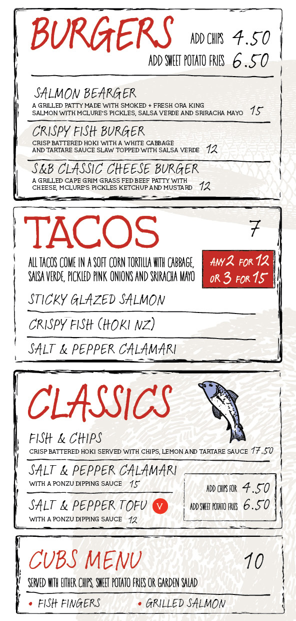 fish burgers and taco menu