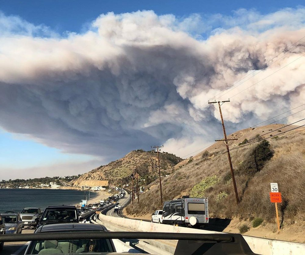 Photo courtesy of wikipedia.com. Residents evacuate Malibu, CA.