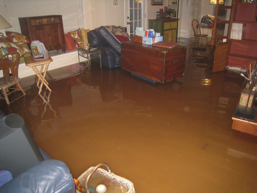 PHOTO BY DEAN BIXLER. The flooded home of Houston residents Dean and Charmain Bixler.