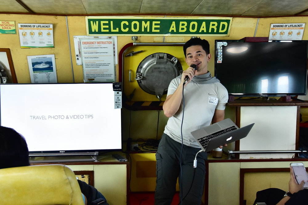 Sony Ambassador Carlo Ledesma shares tips on board the ferry to Corregidor Island