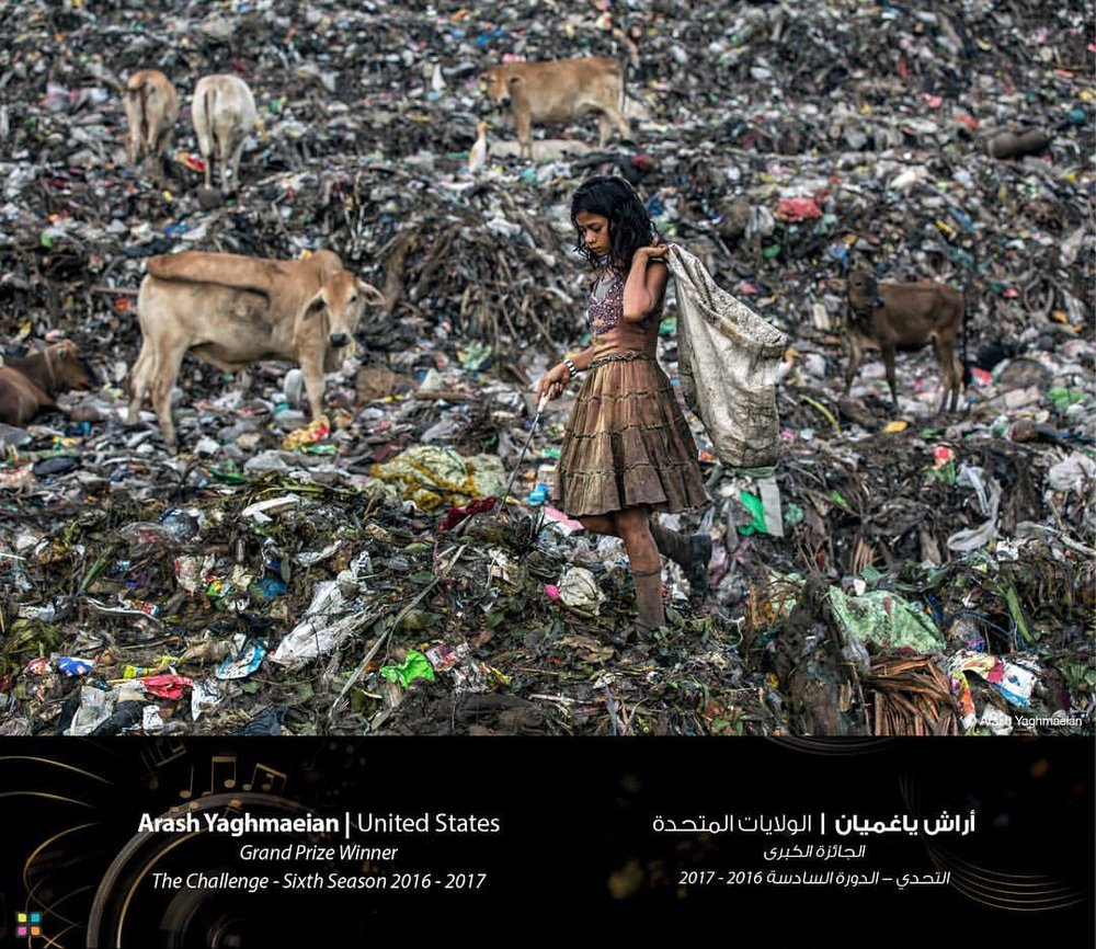 A girl searching for recyclable items in a landfill in Guwahati, India. A small community lives inside this landfill and work as a team, some barefooted, sorting through mountains of garbage for less than $2 a day. They share this landfill with the endangered stork, the greater adjutant, along with some cows and dogs. The garbage is stacked very high and is very unpredictable since the ground beneath their feet can collapse at any time. Thestench and fumes from the garbage is strong and heavy with animal feces and worms swimming everywhere in this ocean of trash. The homes in this community have no electricity or running water, and people live in an extremely unhealthy environment, with little to no chance of escaping.