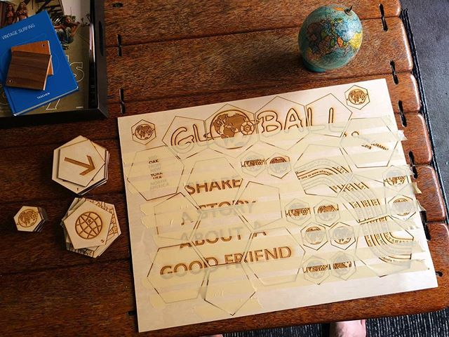 Building the model for GLOBALL. Thank you @thebuildshop for #lasercutting and #laseretching. #maker #artist