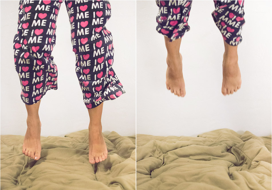 pajamas jumping on the bed