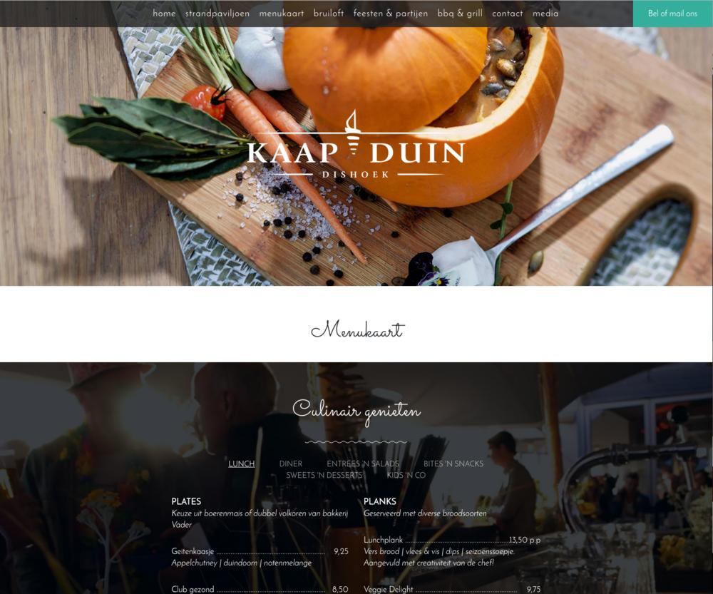 Kaapduin - Voor Kaapduin hebben we de opdracht gekregen om een site van deze tijd neer te zetten waarin visuele content de lijddraad zou zijn.