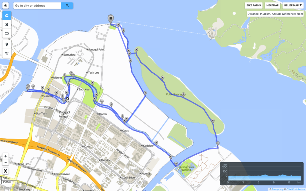 Tentative cycling route