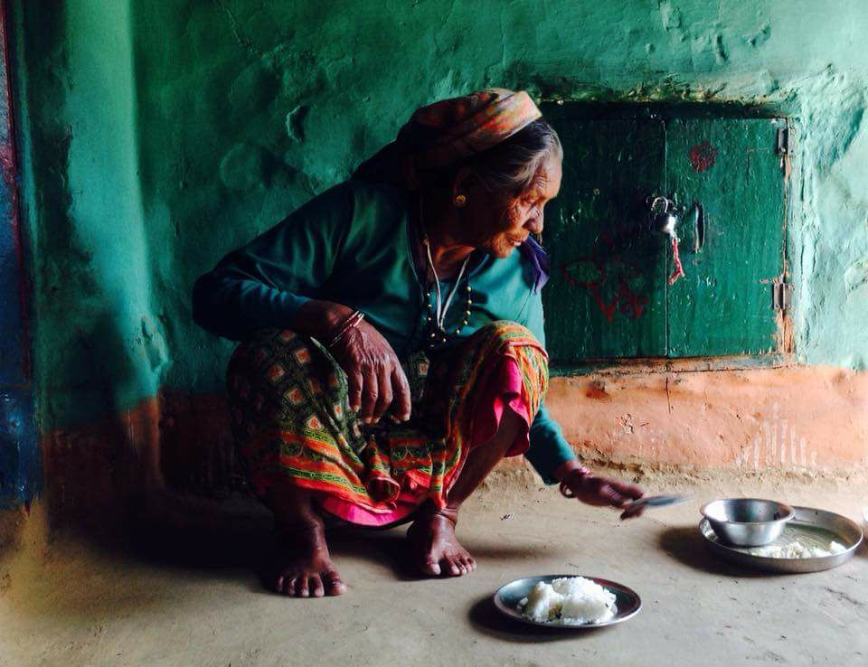 The lady whose house we visited near the Waterfall Trek. Almora District, Uttrakhand-India.   Photo : Bente Lindstrom, Denmark.  Guest on a tour of Resplendent,