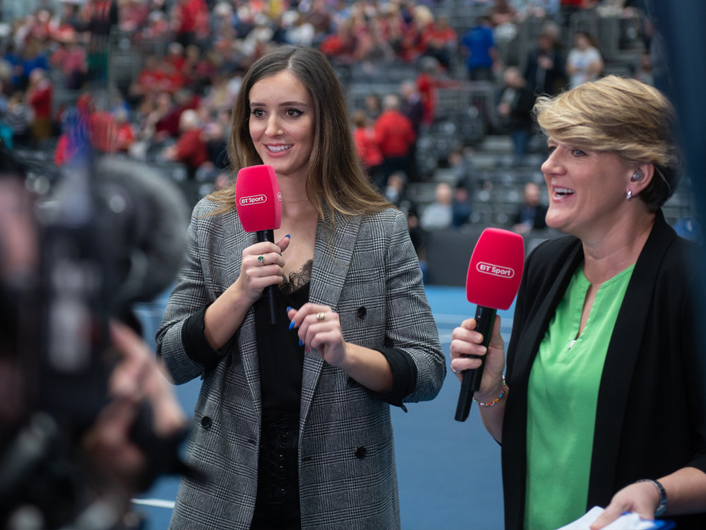 Laura and Clare Balding at the Fed Cup World Group 2 play-offs  (Photo: C1 Media for BTSport)