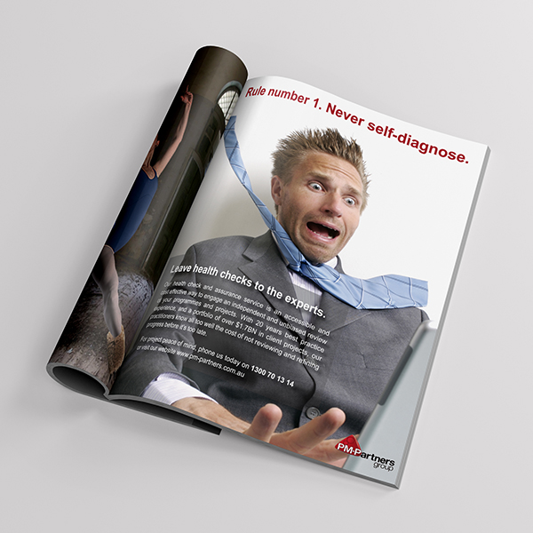 PM-Partners 'health checks' advertisement: concept,design + copy