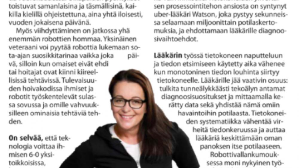 Robotiikkaa ja tunneälyä, kirjoittaa Eeva Kiuru Oululehden kolumnissaan