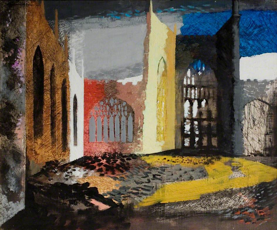 Interior of Coventry Cathedral, the morning after the Blitz, 1940, Herbert Art Gallery & Museum, Coventry, UK /  ©  Bridgeman Images