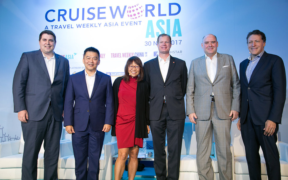 Cruise leaders (L-R): Sean Treacy, managing director for Asia Pacific, Royal Caribbean Cruises Ltd, Michael Goh, senior vice president for international sales, Genting Cruise Lines, William Harber, president for China & Asia Pacific, Hurtigruten, and Michael Ungerer, chief operations officer, Carnival Asia, with moderators Yeoh Siew Hoon, editorial director, Northstar Travel Media and Arnie Weissmann, editor-in-chief of Travel Weekly US.