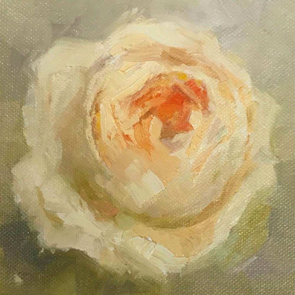 Peach Rose, 150€, 13x13 cm