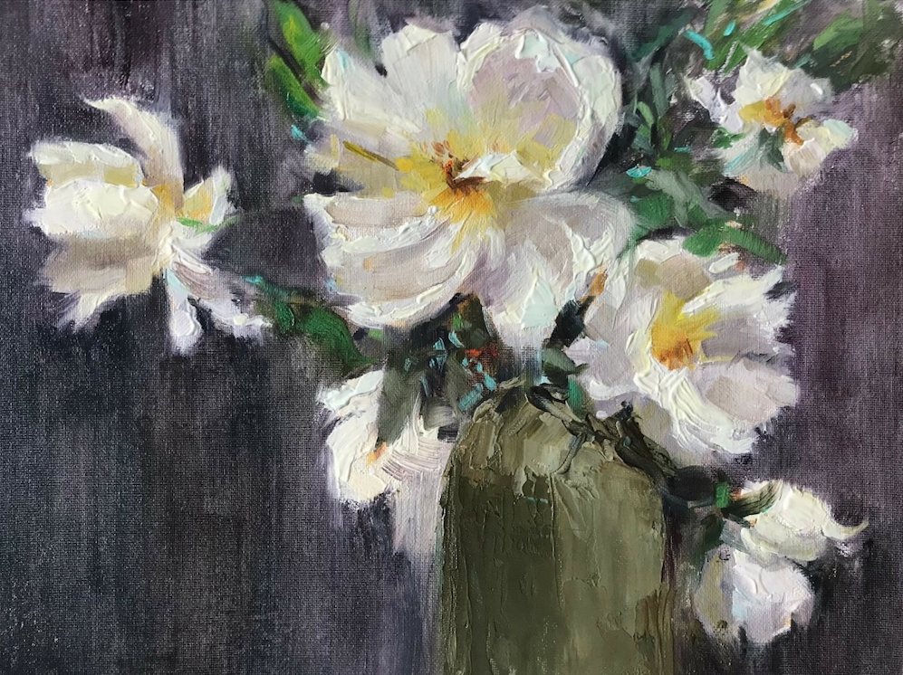 Midsummer Roses in a Vase, 620€, 27x35 cm