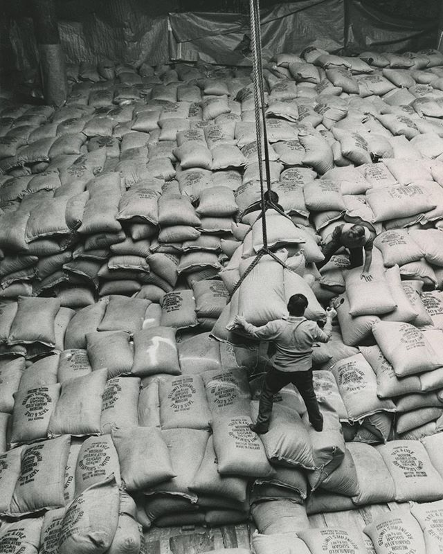 Here we have two burley brutes man-handling 10,000 tons of sugar, aboard MV Irene, headed for Algeria.  No. 16 Shed, Queen Elizabeth Dock, Hull. September, 1972. Photographer - Herbert Ballard. #Sweet #Hull #Docks #Heritage #Photography #Vintage #ABP #People #Sugar #BlackandWhitePhoto