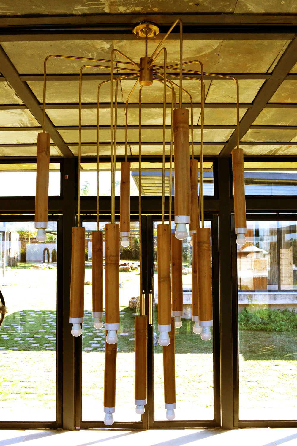 Custom-developed bamboo, terracotta and brass installation