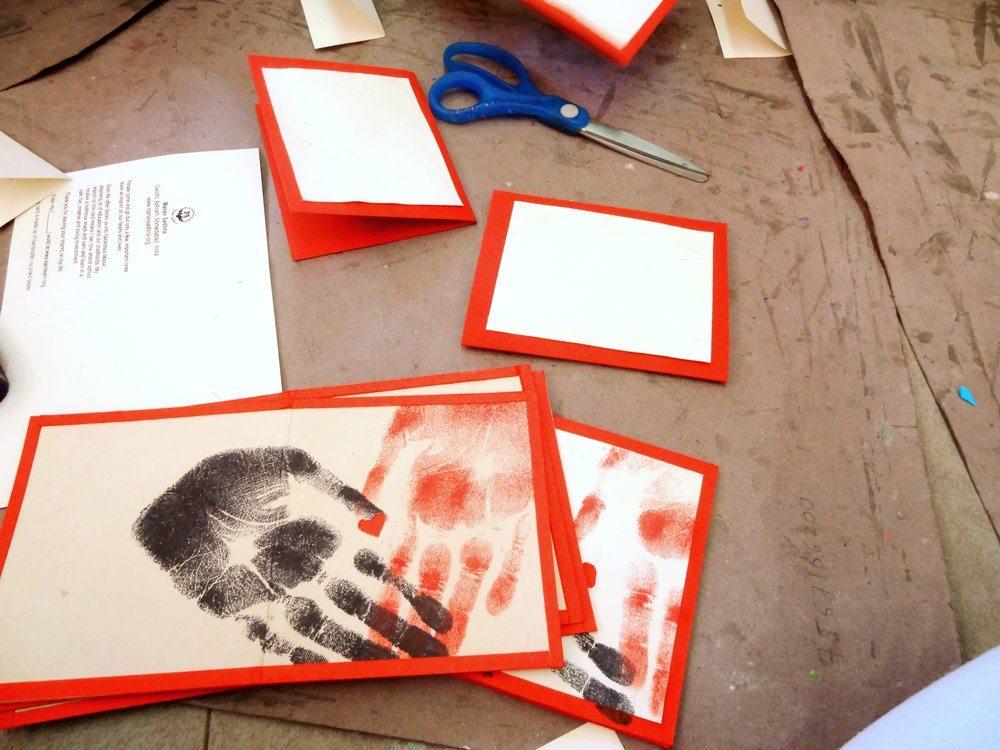 Heart cards printed by tiny hands for the heart-in-hand series