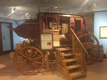 Climb on into the stagecoach among the family friendly exhibits on the museum's lower level.