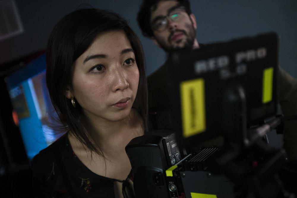 Co-producer & DP Rui Arichika checks the shot