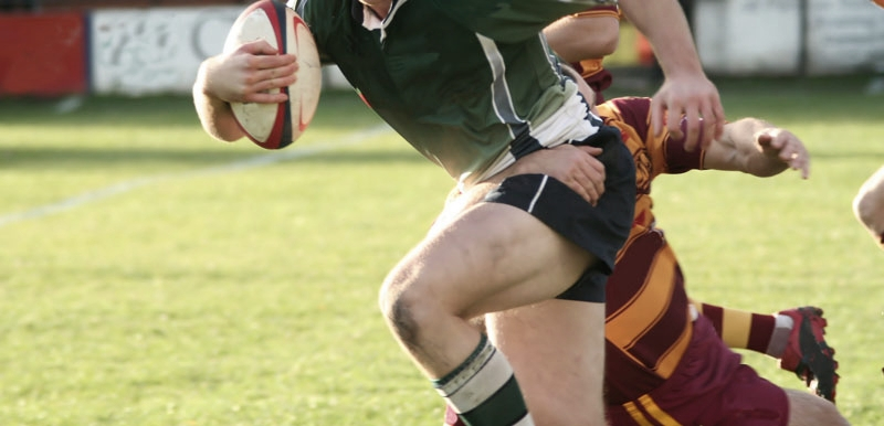 rugby player with sports mouth guard