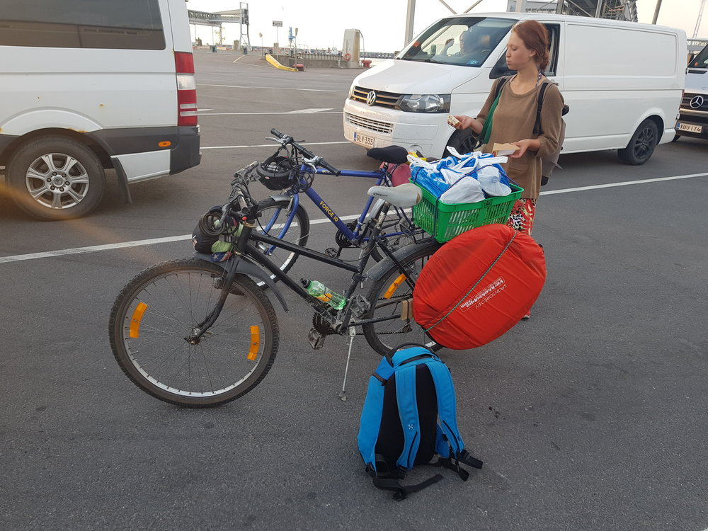 Our gear survived wonderfully, outside the breaks on Linda's bike no maintenance was necessary. Last sights of Estonia, waiting to board the ferry