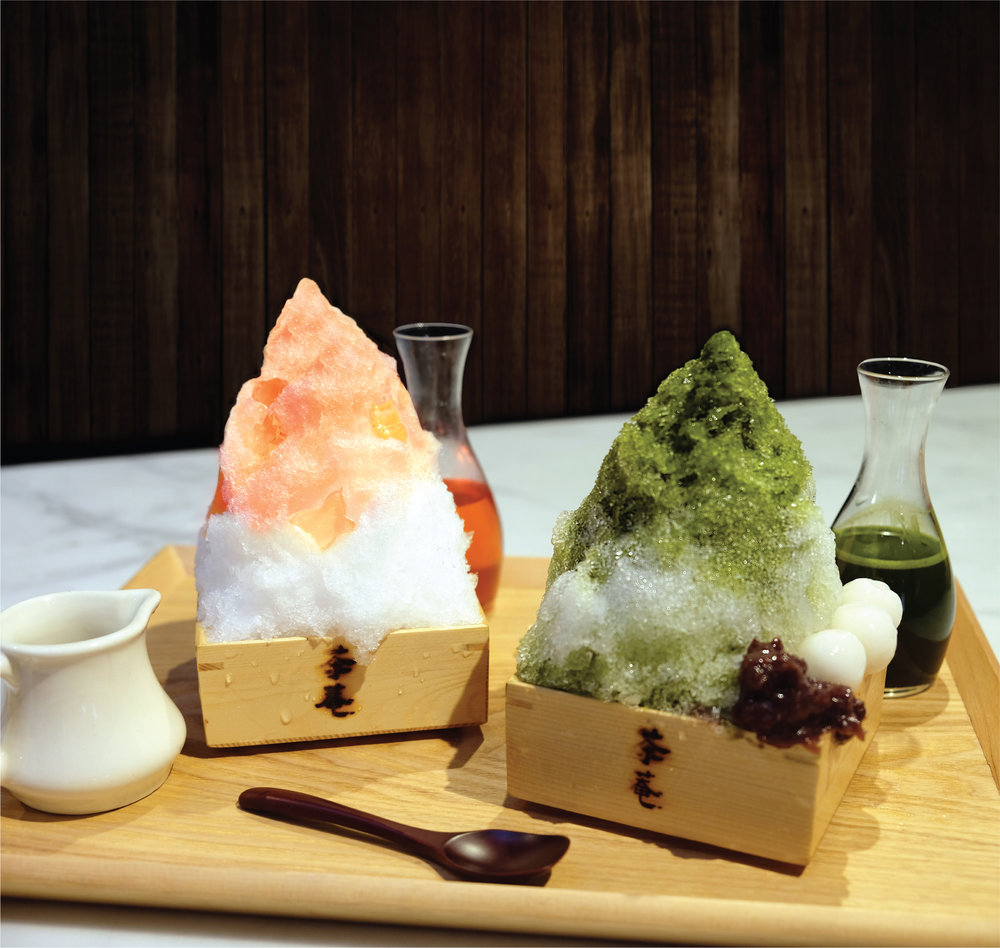 -Seasonal-sHAVED ICE - MATCHA: Hand-shaved ice with handmade green tea syrup, red bean paste, shiratama mocha and condensed milkPEACH: Hand-shaved ice with handmade fresh peach compote & puree, peach syrup, peach jelly and condensed milk