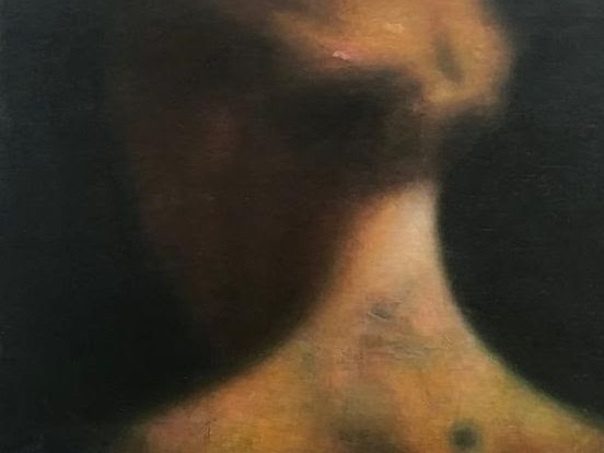Robert Bosisio, Frau mit Tatoo (Detail), 2018, Öl und Eitempera auf Leinwand, 100 x 80 cm