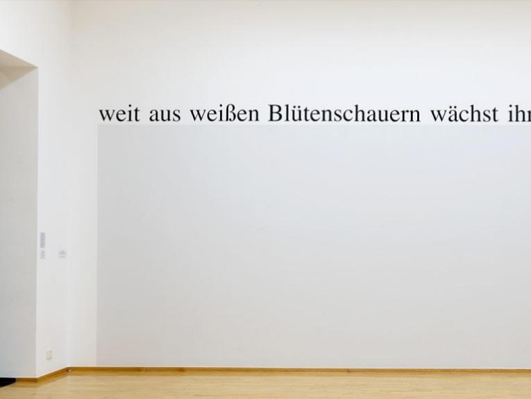 Haim Steinbach,   weitausweißenblütenschauernwächstihrweltverlorensein , 2018. Courtesy of the artist and Galleria Lia Rumma