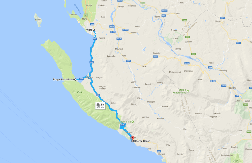 Don't trust Google maps: unless you can drive like an Albanian, it will take closer to 3 hours to get from Vlorë to Dhermi. But without doubt you'll want to make a few stops as well!