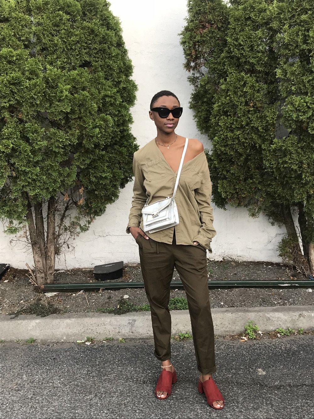 Go Green - Urban Outfitters UO Cross dyed Stevens button down shirt, Zara Drawstring trousers, high heel mule sandal, Loeffler Randall crossbody bag in silver foil lambskin